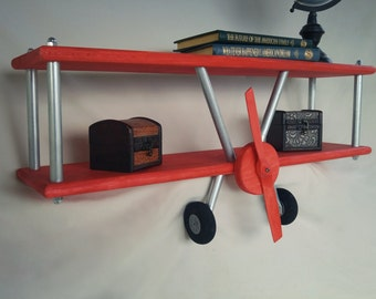 LARGE Red Airplane Shelf, Biplane Shelf, Red Stained Airplane, Aircraft Decor, Travel Decor, Airplane Decor