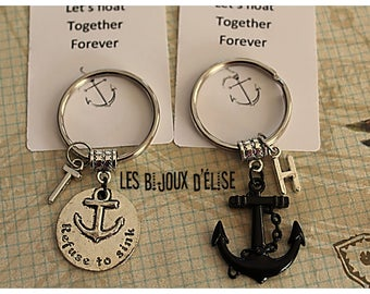 Set of 2 Anchor Keychains Refuse to Sink Nautical Key Chains Best Friends Keychains His and Her Keychains Valentine's Keychains