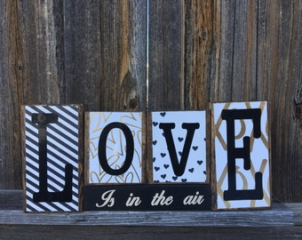 Love is in the air wood blocks-valentine's day