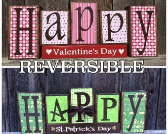 REVERSIBLE Valentine's & St Patrick's day wood  blocks-Happy Valentine's day reverses with Happy St Patrick's day