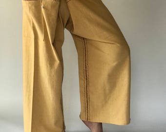 FZ0059 Hand Sewing Inseam design for Thai Fisherman Pants Wide Leg pants, Wrap pants, Unisex pants, Thai Fisherman Pants, Cotton