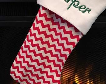 Christmas Stocking * Monogrammed * Red Chevron FREE SHIPPING
