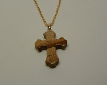 Brown Stone Cross on Gold chain (N2)