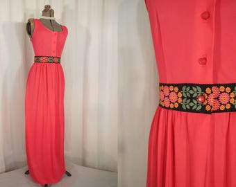 Vintage Nightgown - 1960s Bright Pink Satin Lingerie Nightgown, 60s Empire Waist Maxi Dressing Gown