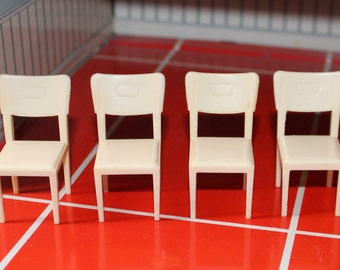 Marx hard Plastic Dollhouse Chairs, 4 available, Dollhouse kitchen furniture, Marxie Mansion dollhouse, Three quarter inch scale miniature