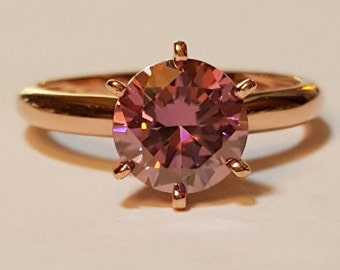 1.65ct Round Pink Purple Moissanite Diamond 14kt Rose Gold Ring Size 4