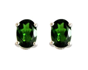 1.67ctw Russian Chrome Diopside Oval Sterling Silver Stud Earring