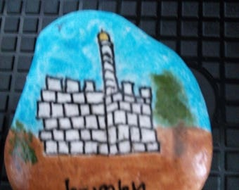 Painted Rock Stone Art, Paper Weight, Door Stopper, Handpainted , Jerusalem Judaica