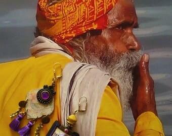Bohemian hippie chic earrings - earrings dissociated - bellydance - nomadic - gipsy earrings - belly dance