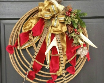 Western Country Christmas Lariat Antler Rope Wreath