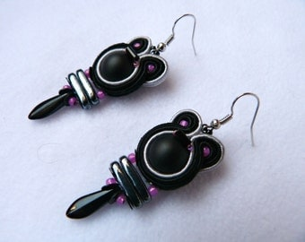 Flamenco earrings, pink and black earrings, black earrings, soutache earrings,