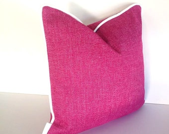 Pink Fuchsia Pillow, Dirt Resistant Textured Pink Cushion, Free Shipping