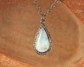 Moonstone and diamond necklace - diamond teardrop necklace - rainbow moonstone necklace - pave diamond necklace - diamond pendant