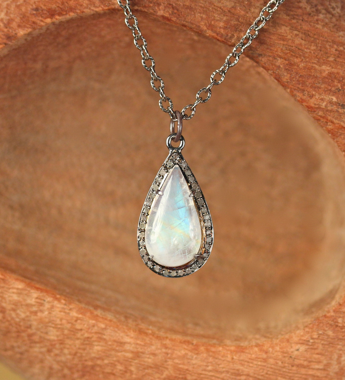 Moonstone Necklaces: Moonstone And Diamond Necklace Diamond Teardrop Necklace