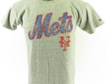 Vintage 80s New York Mets Champion T-Shirt Mens L Baseball MLB USA Made Sports [H74S_0-8]