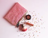 Candy Pink Glitter Makeup Bag Sparkly Pink Cosmetic Bag Candy Pink Glitter Toiletry Bag Sparkly Zipped Case
