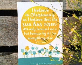 C.S. Lewis Christianity Sun Quote - Inspirational Catholic Art - 5x7 or 8x10 Print