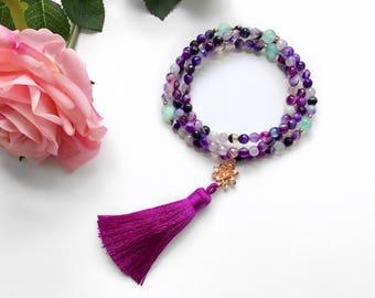 Purple Mala Beads Necklace, 108 Mala Beads, Healing Gemstone Mala, Tassel Necklace, Mala Beads, Meditation Beads Necklace,Boho Necklace,MNPA