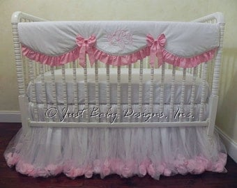 Baby Girl Crib Bedding Set Giselle White & Pink - White and Pink Baby Bedding, Bumperless Crib Bedding, Crib Rail Cover