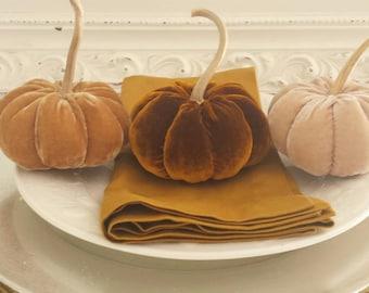 Handmade Mini Light Sand Silk Velvet Pumpkin with Real Dried Gourd Stem, velvet pumpkin, burlap pumpkin