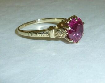 Antique Ostby Barton Ring Ruby Pink Stone 10 K Gold Victorian Alternative Engagement Ring OB Maltese Cross Hallmark