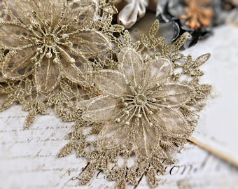Beautiful Gold Lace Trim, 3 Layers Of Rayon Lace And Chiffon Creates A Stunning 3D Flower, 12 Continuous Flowers In Each Yard 103B