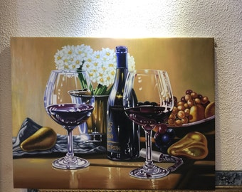 Still life with Wine Oil painting on Canvas 24x32''