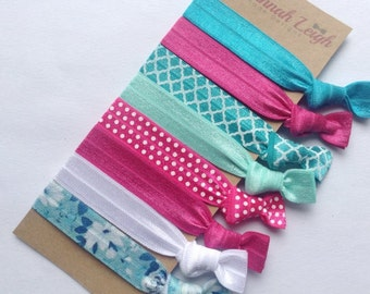 Pink teal and white prints knotted hair ties