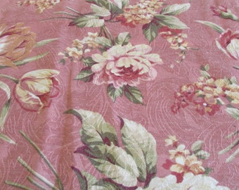 Vintage Barkcloth Fabric Curtains Valances 5 panels 55 x 17 Pair Standard Pillow Shams Classic Pattern Self Lined Dusty Rose