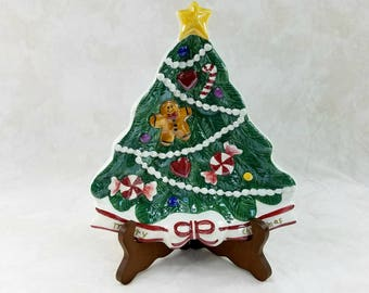 Christmas Tree Plate, Holiday Cookie Plate, Holiday Decoration, Christmas Decor, Merry Christmas Plate, Porcelain Christmas Tree Plate