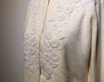Lovely STEPHEN CHU 50s 60s Beaded Cardigan / 1950s 1960s Sweater / 1950s 1960s Cardigan