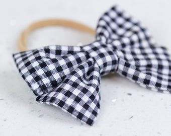 Black and White Gingham Bow & Bow tie