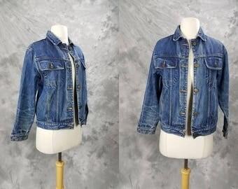 Blue denim jacket, worn, distressed jean jacket, small