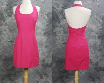 Pink linen halter dress, cotton blend mini dress, JR's dresses, Medium