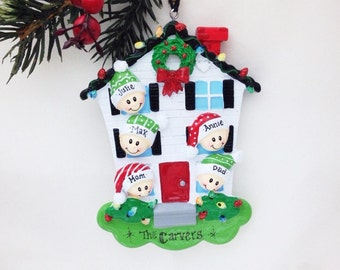 FREE SHIPPING 5 Family Member Personalized Christmas Ornament /Personalized Ornament / Personalized Family Ornament / 5 Family Happy Home