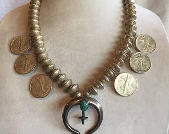 Vintage NAVAJO Mercury Dime Beads & Walking Liberty Half Dollar Coin NECKLACE