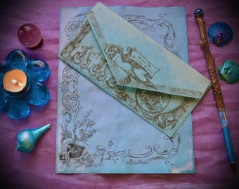 15 Piece Set / Mermaid Stationary / Sea Witch Book of Shadows Pages / Vintage Mermaid Illustrations / Nautical Water Element Paper Envelopes