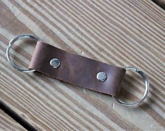 Double Loop Key Chain - Silver Hardware