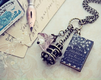 Pride and Prejudice Book Necklace Jane Austen Jewelry Miniature Bird Cage Pendant Flower Pendant Pearl Elizabeth Bennet Darcy Tiny Novel