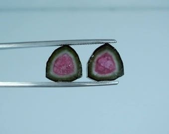13.95 Carat Perfect Pair of Watermelon Tourmaline Slices For Making Jewelry or Wire Wrap From Paproke Mine Afghanistan.