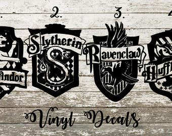 Hogwarts House Crest Vinyl Decal - Harry Potter - Gryffindor - Slytherin - Hufflepuff - Ravenclaw - Window - Car - Sticker - Yeti - Tumbler