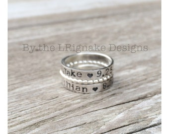 sterling silver stacking personalized name ring (1 ring)