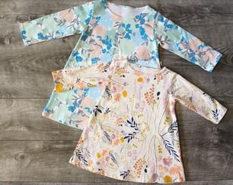 Girls tunic dress, baby girl clothes, baby girl dress, girls floral dress, long sleeve dress, girls dresses, girls tunic, baby floral dress