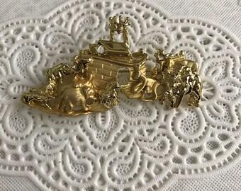 Vintage Noah's Ark Biblical Animal Gold Tone  1980's Brooch Pin