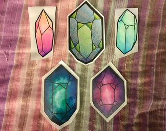 Hand Drawn OOAK Crystal Stickers