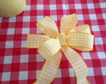 Yellow white check gingham bow spring summer rustic country baby shower, picnic, wedding decor for any season gift bows