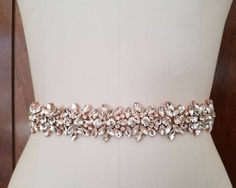 Wedding Belt, Bridal Belt, Sash Belt, Crystal Rhinestone with Rose Gold Details - Style B20333RG