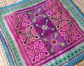 Ethnic embroidered Purple Hilltribe Hmong Textile Vintage Tribal Fabric Crafts supplies