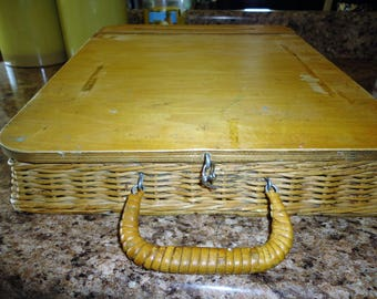 Wood Wicker Lap Desk Portable Writing Table Artist Drawing Board Art Supply Storage