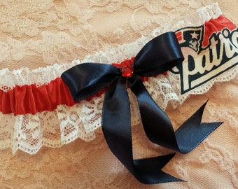 New England Patriots Football Inspired Wedding Bridal Garter Belt Toss or Set w/ White Lace